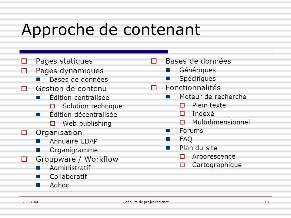 26-11-04Conduite de projet Intranet13 Approche de contenant  Pages statiques  Pages dynamiques  Bases de données  Gestion de contenu  Édition cen