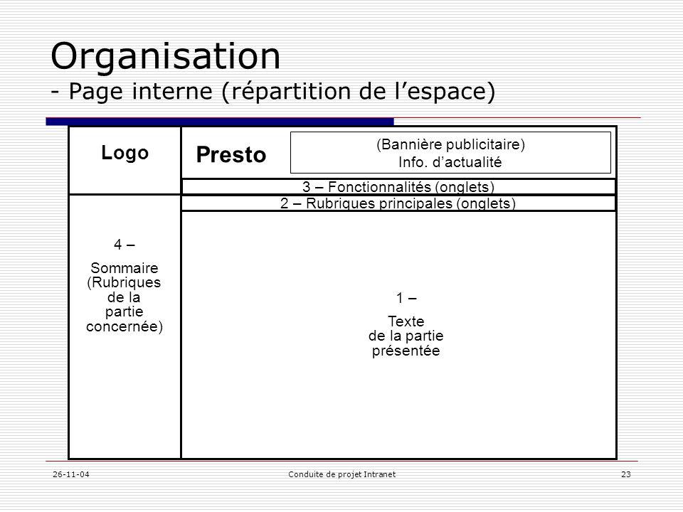 26-11-04Conduite de projet Intranet23 Logo 3 – Fonctionnalités (onglets) 1 – Texte de la partie présentée 2 – Rubriques principales (onglets) 4 – Somm