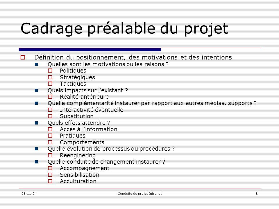 26-11-04Conduite de projet Intranet8 Cadrage préalable du projet  Définition du positionnement, des motivations et des intentions  Quelles sont les