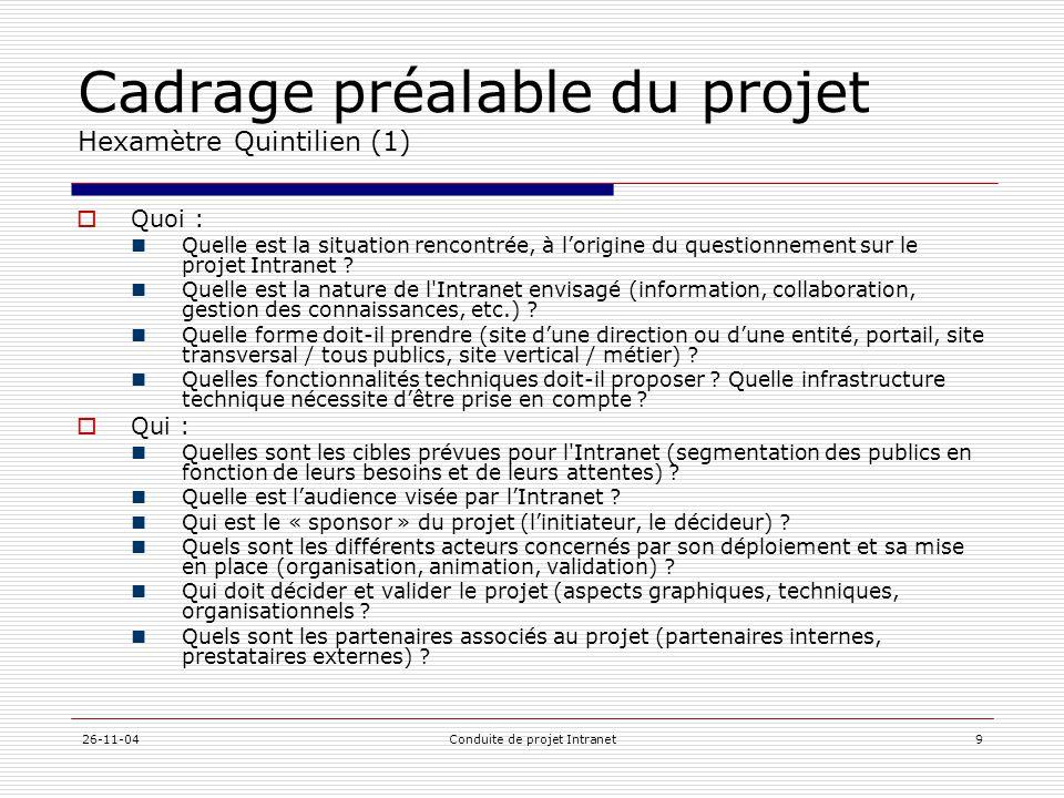26-11-04Conduite de projet Intranet9 Cadrage préalable du projet Hexamètre Quintilien (1)  Quoi :  Quelle est la situation rencontrée, à l'origine d