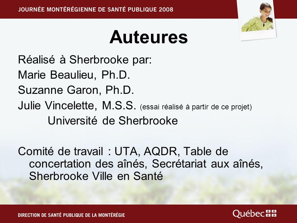 Auteures Réalisé à Sherbrooke par: Marie Beaulieu, Ph.D. Suzanne Garon, Ph.D. Julie Vincelette, M.S.S. (essai réalisé à partir de ce projet) Universit