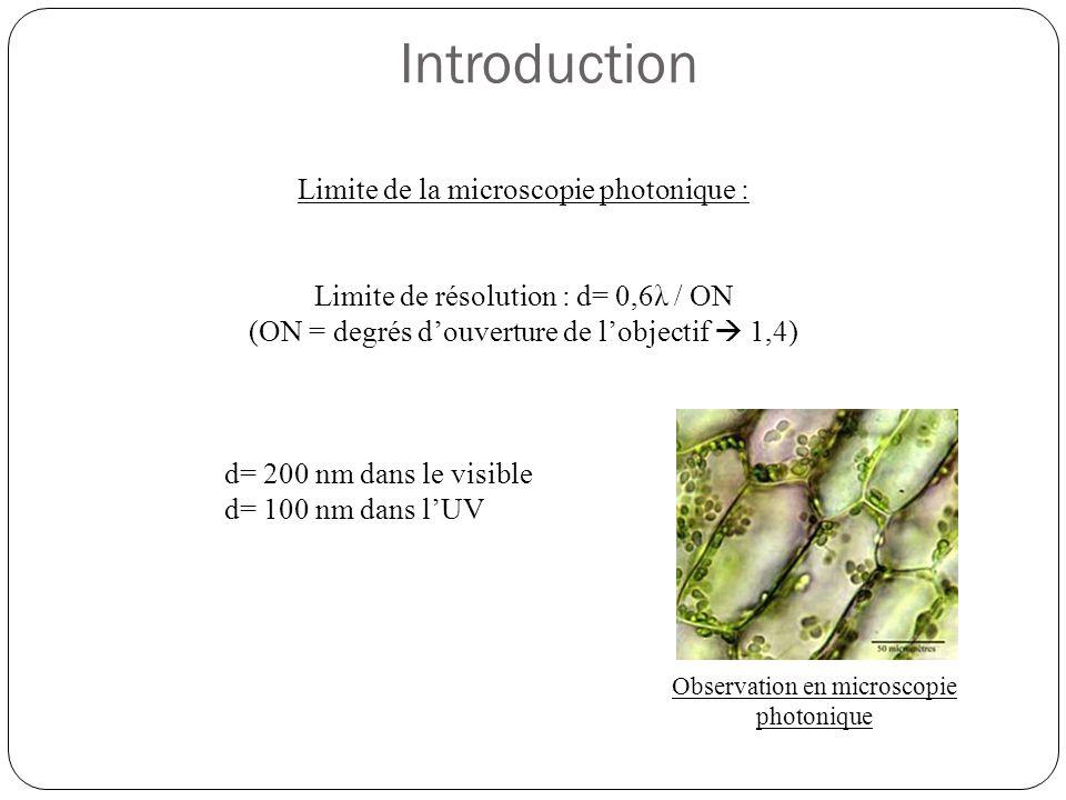 Limite de la microscopie photonique : Limite de résolution : d= 0,6λ / ON (ON = degrés d'ouverture de l'objectif  1,4) d= 200 nm dans le visible d= 100 nm dans l'UV Introduction Observation en microscopie photonique