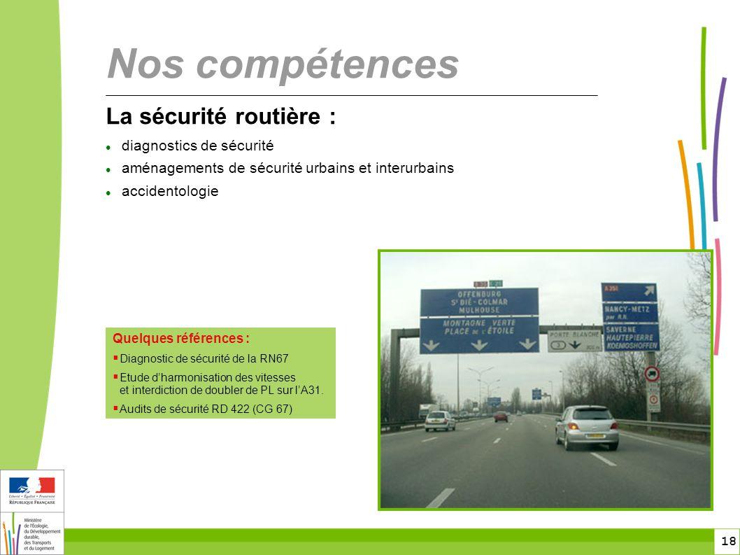 18 18 La sécurité routière :  diagnostics de sécurité  aménagements de sécurité urbains et interurbains  accidentologie Nos compétences Quelques références :  Diagnostic de sécurité de la RN67  Etude d'harmonisation des vitesses et interdiction de doubler de PL sur l'A31.
