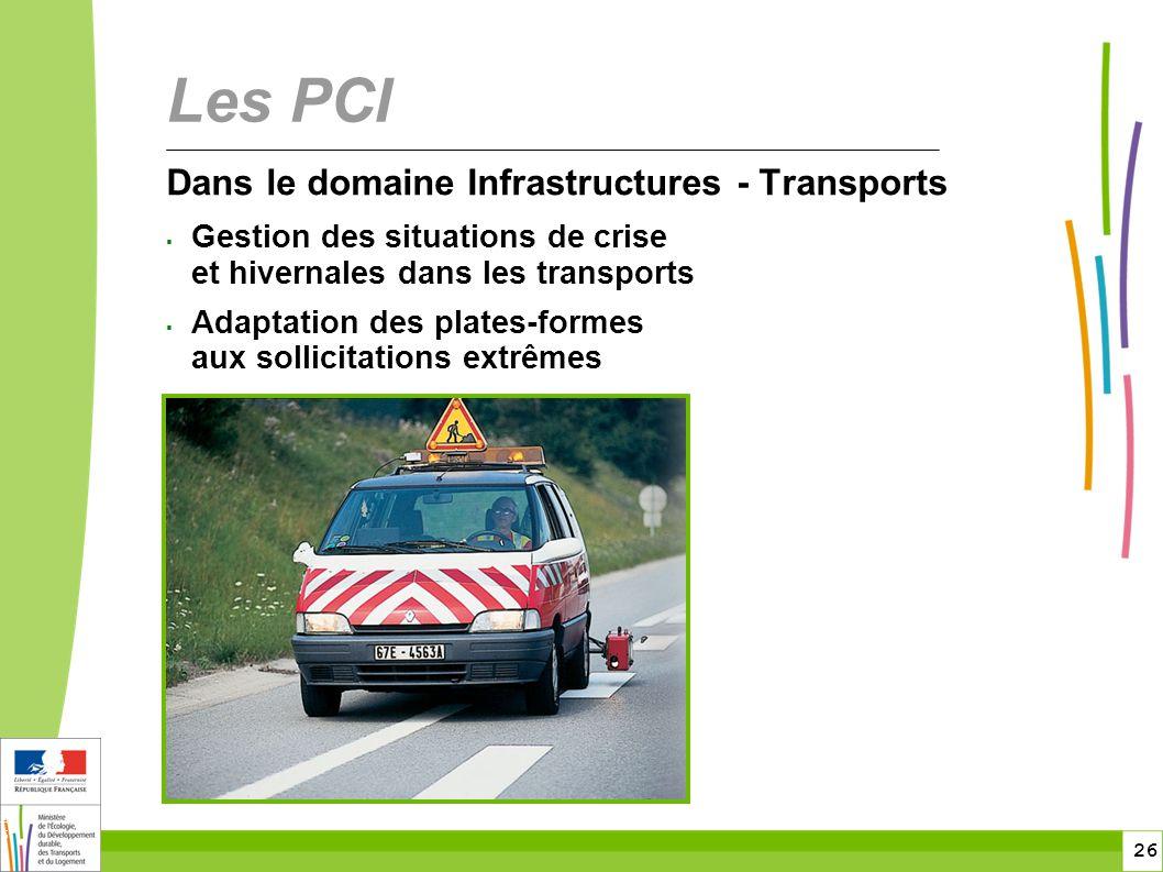 26 26 Dans le domaine Infrastructures - Transports  Gestion des situations de crise et hivernales dans les transports  Adaptation des plates-formes aux sollicitations extrêmes Les PCI