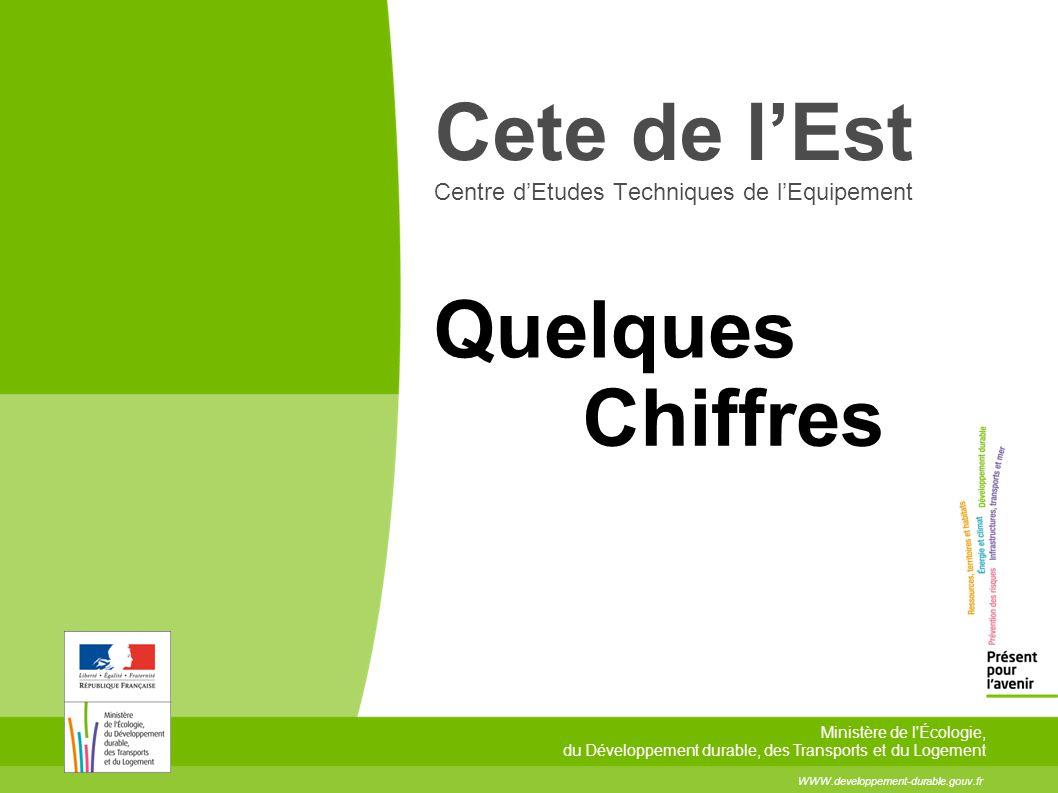 Quelques Chiffres WWW.developpement-durable.gouv.fr Ministère de l Écologie, du Développement durable, des Transports et du Logement Cete de l'Est Centre d'Etudes Techniques de l'Equipement