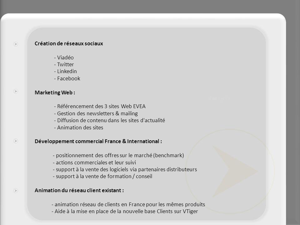 Création de réseaux sociaux - Viadéo - Twitter - Linkedin - Facebook Marketing Web : - Référencement des 3 sites Web EVEA - Gestion des newsletters &