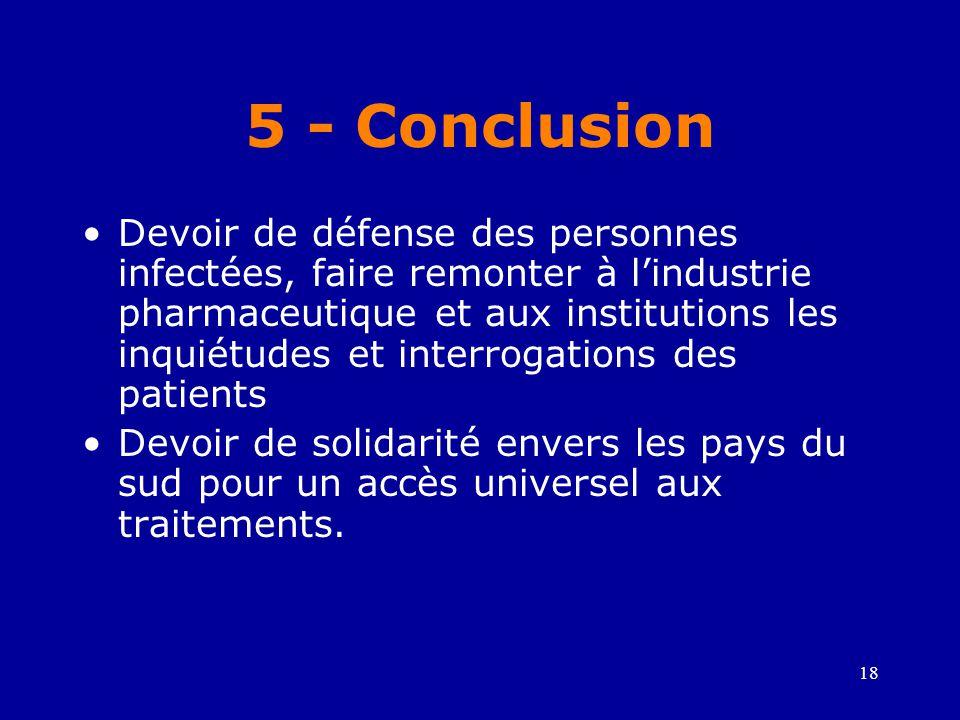 18 5 - Conclusion •Devoir de défense des personnes infectées, faire remonter à l'industrie pharmaceutique et aux institutions les inquiétudes et inter