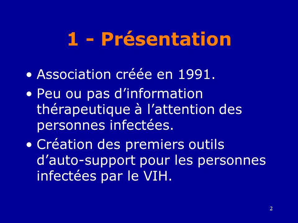 3 1 - Présentation •Ecoute et partage des angoisses des personnes infectées par le VIH sous traitement •Défense des droits des personnes infectées par le VIH •Premières initiatives de patients pour l'accès aux molécules les plus récentes •Participation au collectif inter-associatif TRT-5 et à l'UNALS