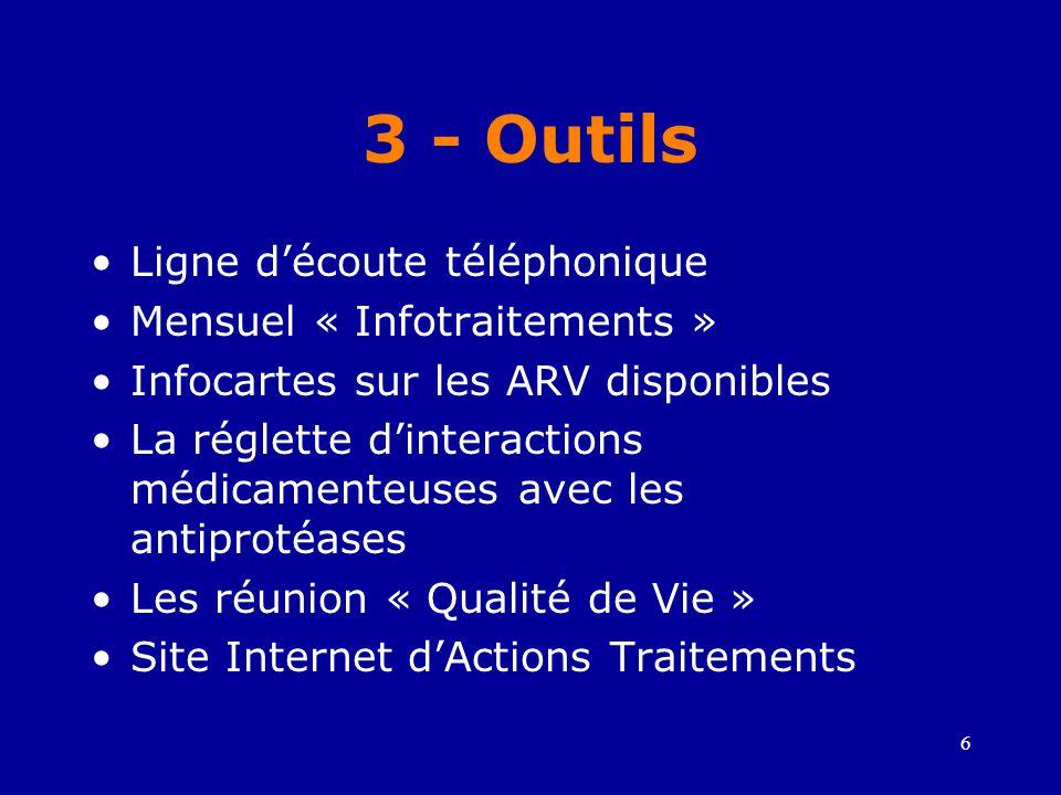 6 3 - Outils •Ligne d'écoute téléphonique •Mensuel « Infotraitements » •Infocartes sur les ARV disponibles •La réglette d'interactions médicamenteuses avec les antiprotéases •Les réunion « Qualité de Vie » •Site Internet d'Actions Traitements