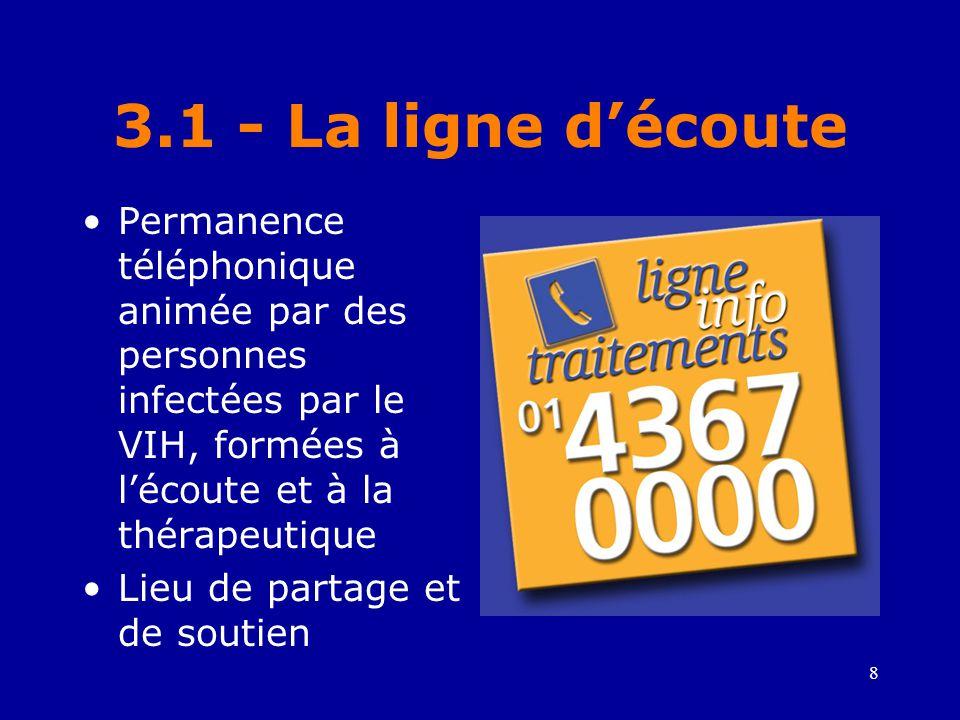 8 3.1 - La ligne d'écoute •Permanence téléphonique animée par des personnes infectées par le VIH, formées à l'écoute et à la thérapeutique •Lieu de partage et de soutien