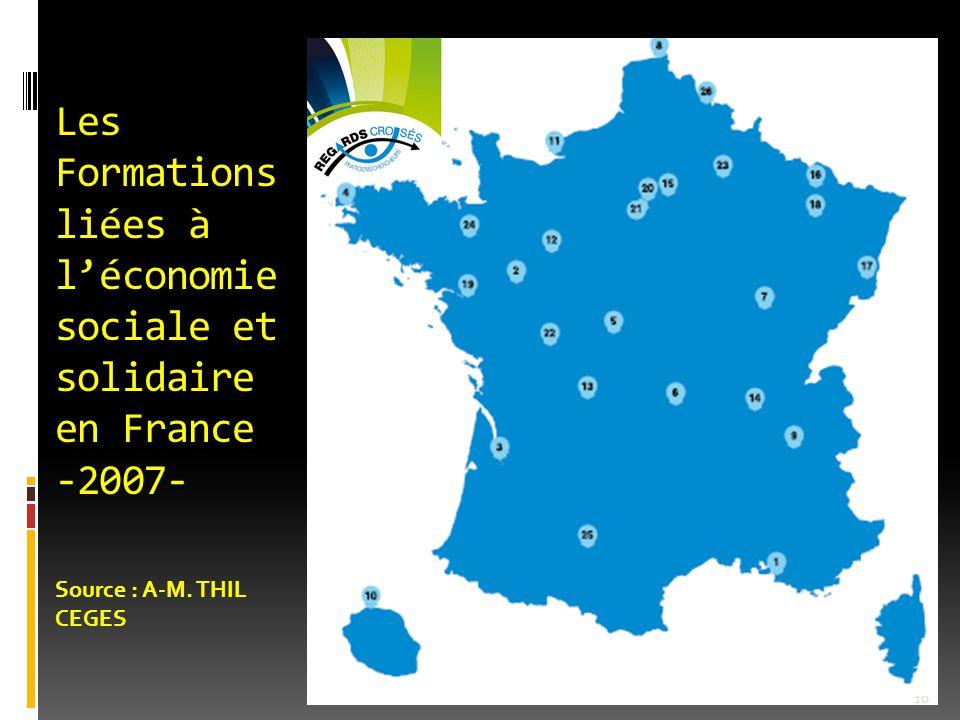 Les Formations liées à l'économie sociale et solidaire en France -2007- Source : A-M. THIL CEGES 10