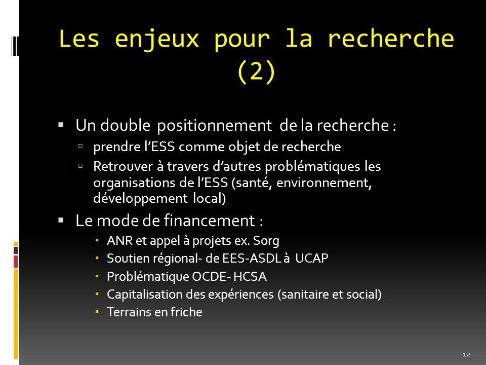 Les enjeux pour la recherche (2)  Un double positionnement de la recherche :  prendre l'ESS comme objet de recherche  Retrouver à travers d'autres problématiques les organisations de l'ESS (santé, environnement, développement local)  Le mode de financement :  ANR et appel à projets ex.