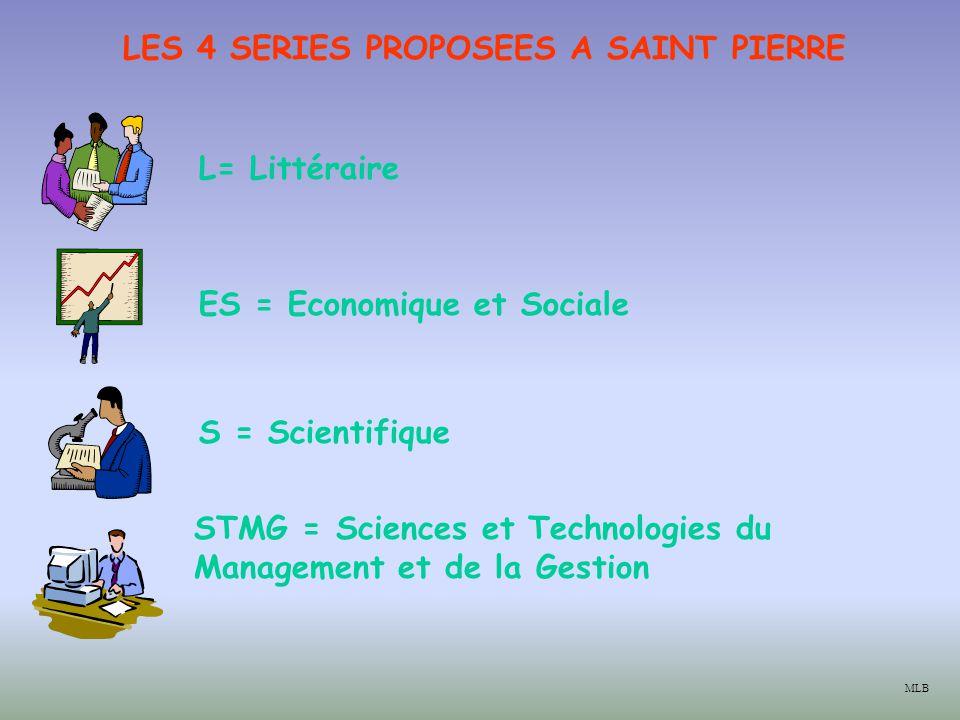 LES 4 SERIES PROPOSEES A SAINT PIERRE ES = Economique et Sociale S = Scientifique STMG = Sciences et Technologies du Management et de la Gestion L= Littéraire MLB