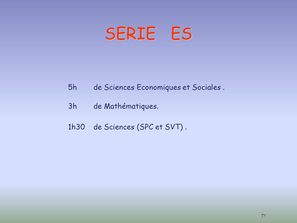 SERIE ES TV 5hde Sciences Economiques et Sociales.