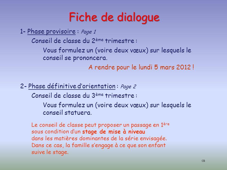 Fiche de dialogue 1- Phase provisoire : Page 1 Conseil de classe du 2 ème trimestre : Vous formulez un (voire deux vœux) sur lesquels le conseil se prononcera.