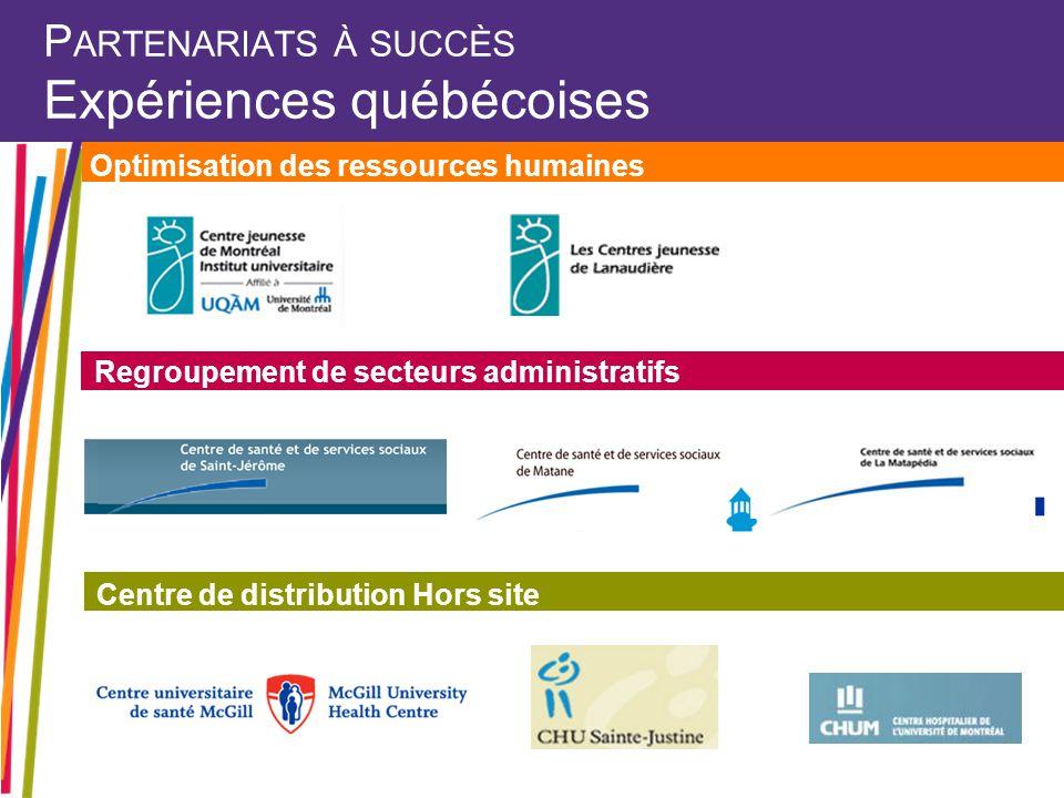 P ARTENARIATS À SUCCÈS Expériences québécoises Optimisation des ressources humaines Regroupement de secteurs administratifs Centre de distribution Hors site