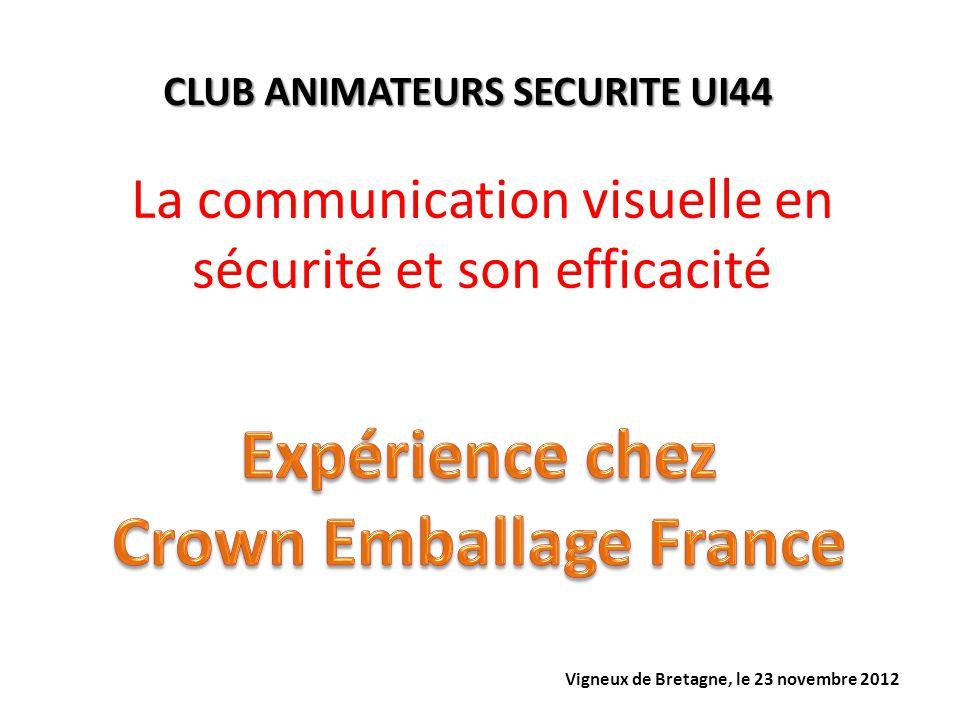 La communication visuelle en sécurité et son efficacité CLUB ANIMATEURS SECURITE UI44 Vigneux de Bretagne, le 23 novembre 2012