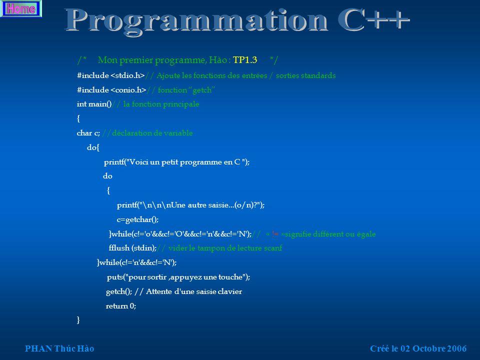 /* Mon premier programme, Hào : TP1.2 */ #include // Ajoute les fonctions des entrées / sorties standards #include // fonction getch int main() // la fonction principale { printf( Voici un petit programme en C\n ); puts( pour sortir,appuyez une touche ); getch(); // Attente d une saisie clavier return 0; } PHAN Thúc HàoCréé le 02 Octobre 2006