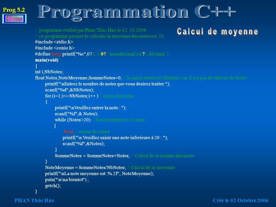 #include #include // pour la fonction getch : attente d une saisie clavier main(void) { int i,NbNotes; /* déclaration variable locale */ float note,somme=0,moyenne; puts( \t\t\tCalcul de moyenne ( Hao )\n ); // Affiche le titre.