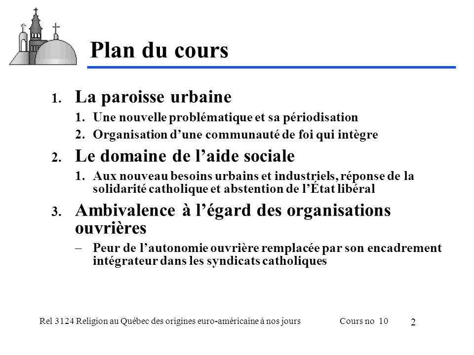 Rel 3124 Religion au Québec des origines euro-américaine à nos joursCours no 10 2 Plan du cours 1.