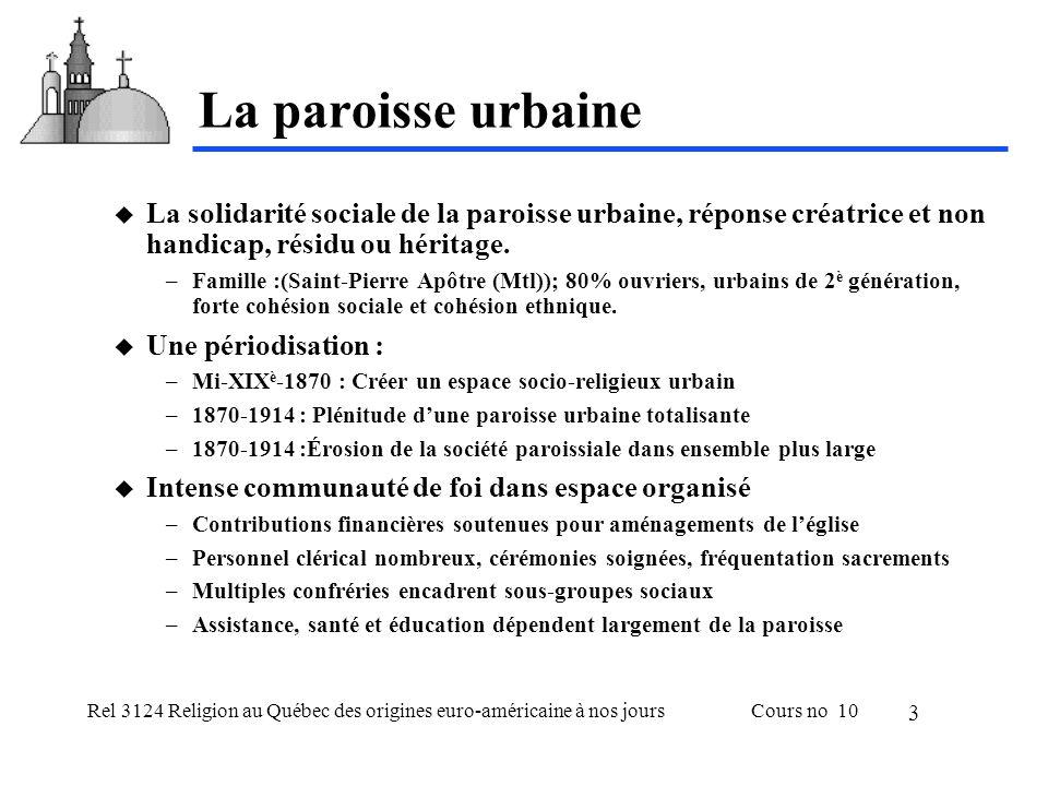 Rel 3124 Religion au Québec des origines euro-américaine à nos joursCours no 10 3 La paroisse urbaine  La solidarité sociale de la paroisse urbaine, réponse créatrice et non handicap, résidu ou héritage.