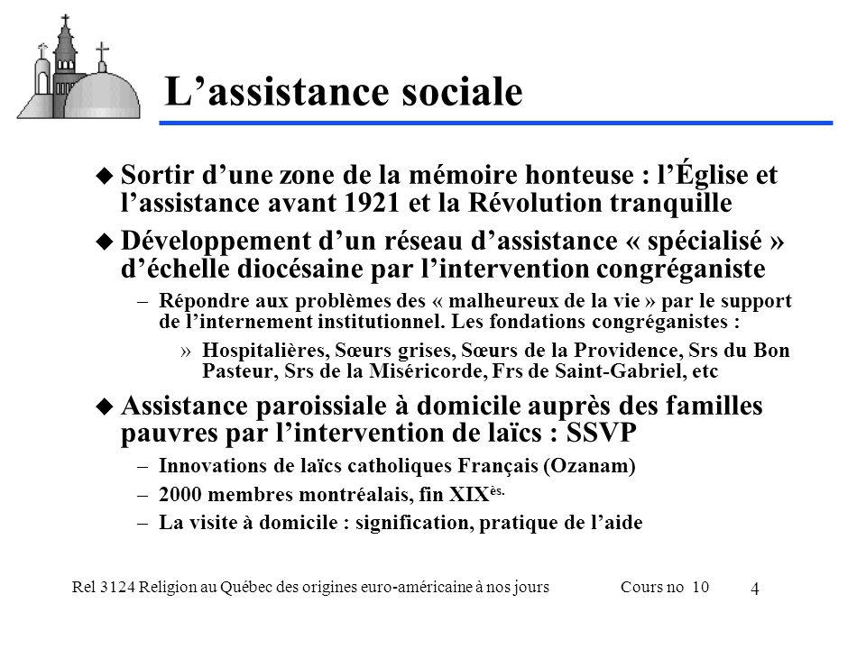Rel 3124 Religion au Québec des origines euro-américaine à nos joursCours no 10 4 L'assistance sociale  Sortir d'une zone de la mémoire honteuse : l'Église et l'assistance avant 1921 et la Révolution tranquille  Développement d'un réseau d'assistance « spécialisé » d'échelle diocésaine par l'intervention congréganiste –Répondre aux problèmes des « malheureux de la vie » par le support de l'internement institutionnel.