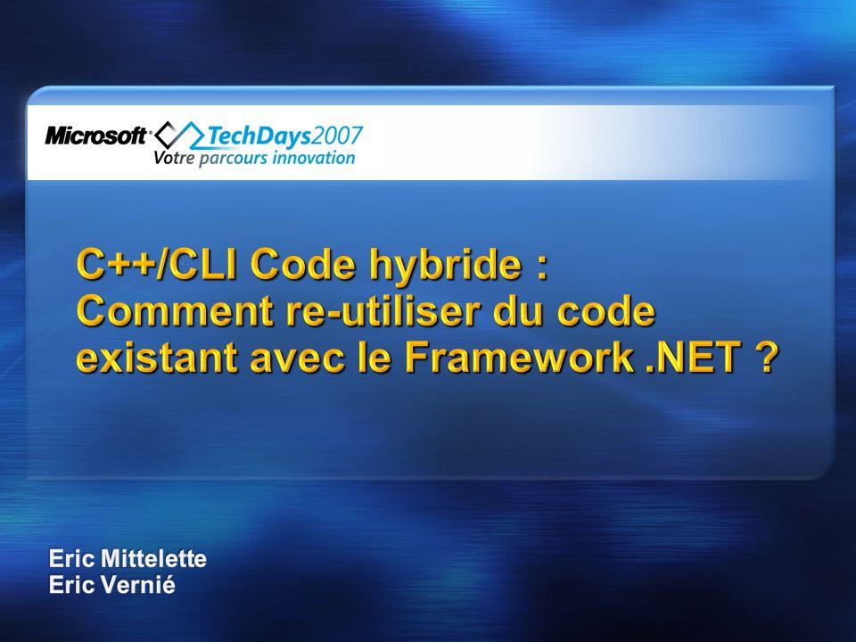 Delegate et évènement delegate void D(int); ref class R { public: event D^ e; // trivial event; // compiler-generated members void f() { e(42); }// invoke it }; R^ r = gcnew R(); r->e += gcnew D(this, &SomeMethod); r->e += gcnew D(SomeFreeFunction); r->f(); delegate void D(int); ref class R { public: event D^ e; // trivial event; // compiler-generated members void f() { e(42); }// invoke it }; R^ r = gcnew R(); r->e += gcnew D(this, &SomeMethod); r->e += gcnew D(SomeFreeFunction); r->f(); Vous pouvez écrire, ajouter, enlever et déclencher vous même les.