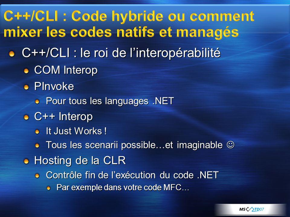 C++/CLI : le roi de l'interopérabilité COM Interop PInvoke Pour tous les languages.NET C++ Interop It Just Works .