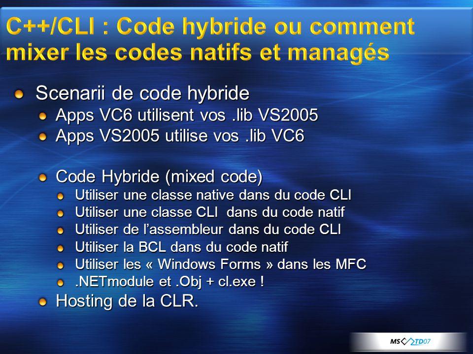 Scenarii de code hybride Apps VC6 utilisent vos.lib VS2005 Apps VS2005 utilise vos.lib VC6 Code Hybride (mixed code) Utiliser une classe native dans du code CLI Utiliser une classe CLI dans du code natif Utiliser de l'assembleur dans du code CLI Utiliser la BCL dans du code natif Utiliser les « Windows Forms » dans les MFC.NETmodule et.Obj + cl.exe .