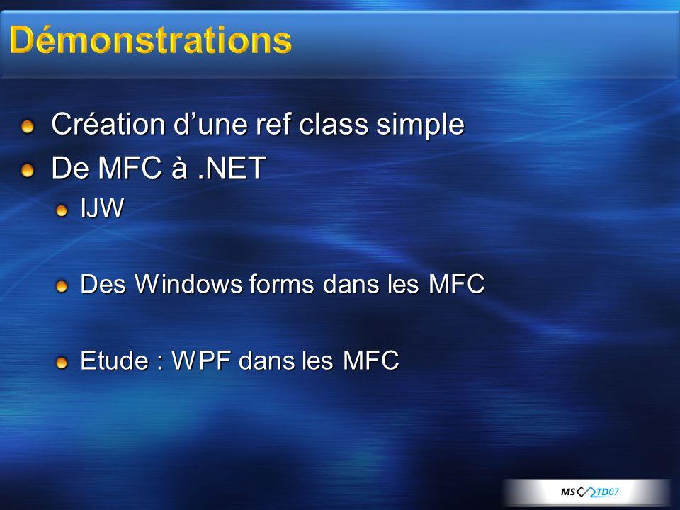 Création d'une ref class simple De MFC à.NET IJW Des Windows forms dans les MFC Etude : WPF dans les MFC