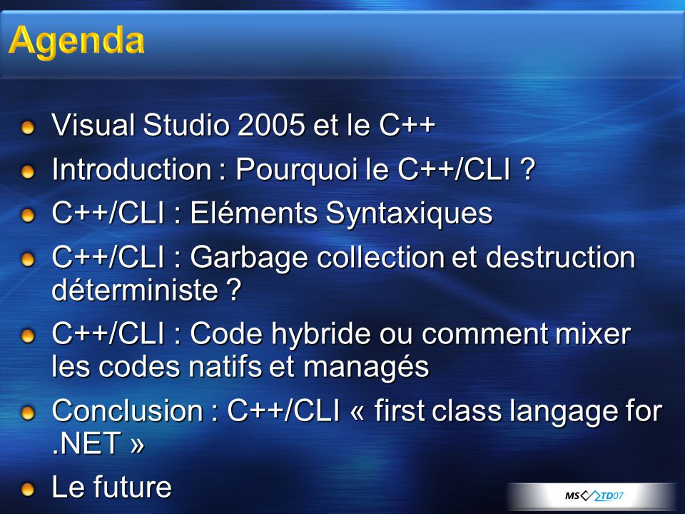 1998 Visual C++ 6.0 ATL3/MFC42 (6.0) 2002 Visual Studio.NET Visual C++ 7.0 Unified Visual Studio IDE & Debugger MFC7/ATL7, attributed programming, ATL Server Whole Program Optimization C++ Managed Extensions Fixed STL concurrency and DLL issues /GS Runtime Security Check 2003 Visual Studio 2003 Visual C++ 7.1 ISO Standard C++ Conformance /Arch:SSE/SSE2 – floating point code generation Windows Forms Designer for Managed Extensions 2005 Visual Studio 2005 Visual C++ 8.0 C++/CLI Language Integrated 64-bit Compiler and Tools Profile Guided Optimization Safe Extension for CRT Project Property Manager, Source Navigation/Browsing MFC/Windows Forms Integration