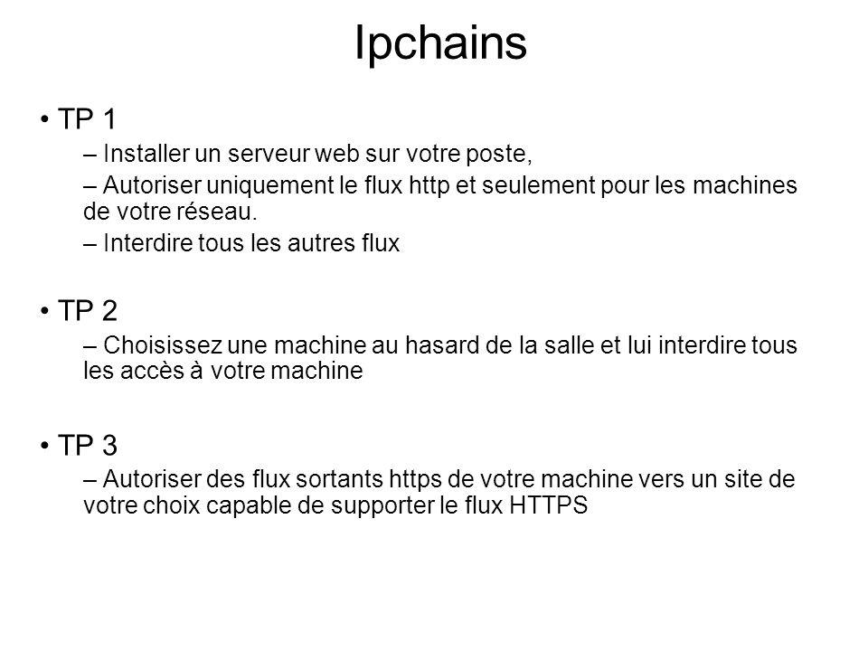 Ipchains • TP 1 – Installer un serveur web sur votre poste, – Autoriser uniquement le flux http et seulement pour les machines de votre réseau. – Inte