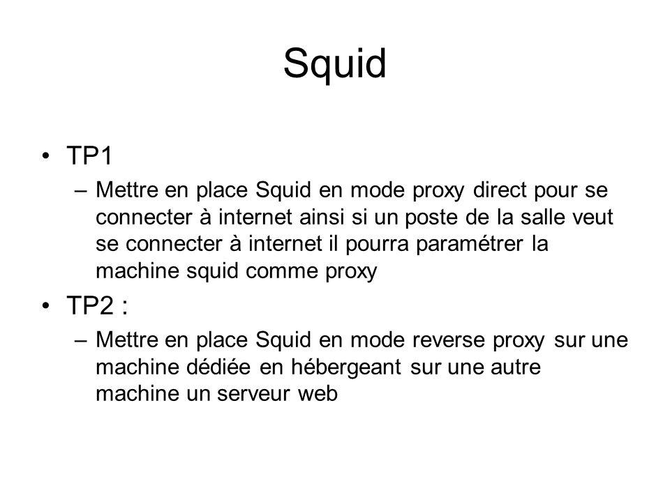 Squid •TP1 –Mettre en place Squid en mode proxy direct pour se connecter à internet ainsi si un poste de la salle veut se connecter à internet il pour