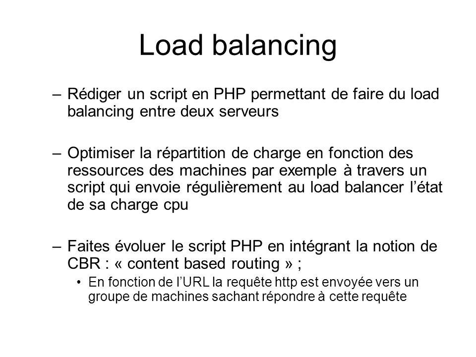 Load balancing –Rédiger un script en PHP permettant de faire du load balancing entre deux serveurs –Optimiser la répartition de charge en fonction des