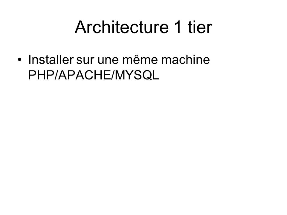 Architecture 1 tier •Installer sur une même machine PHP/APACHE/MYSQL