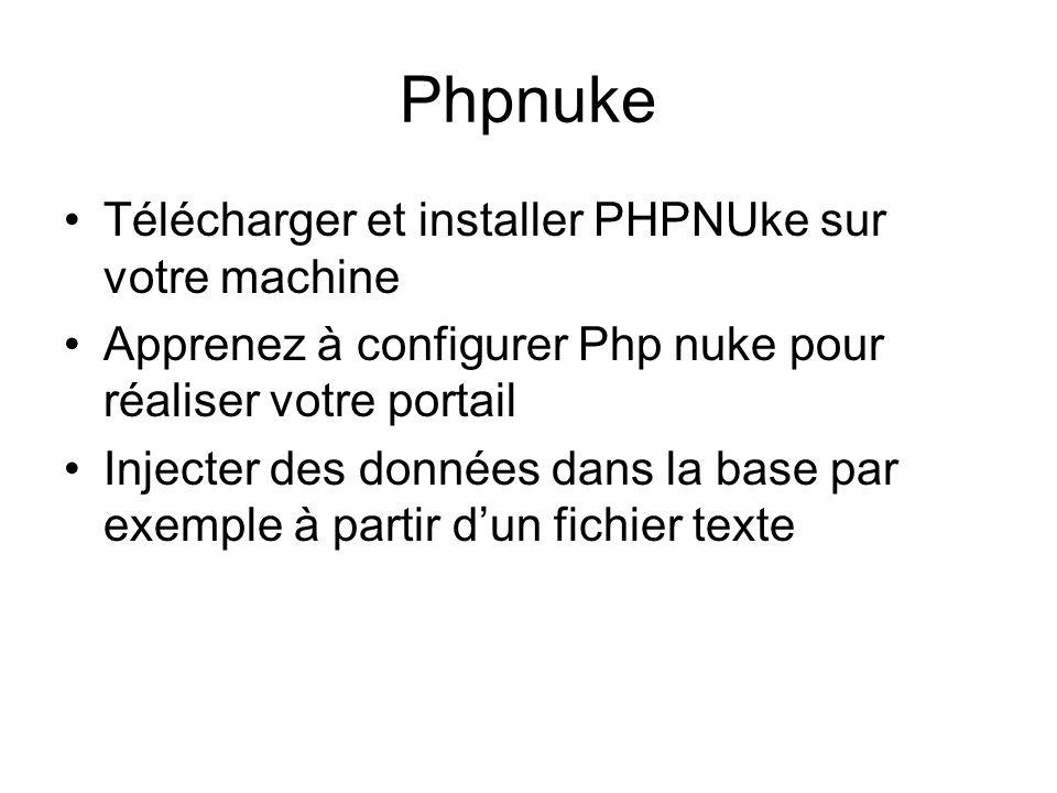 Phpnuke •Télécharger et installer PHPNUke sur votre machine •Apprenez à configurer Php nuke pour réaliser votre portail •Injecter des données dans la