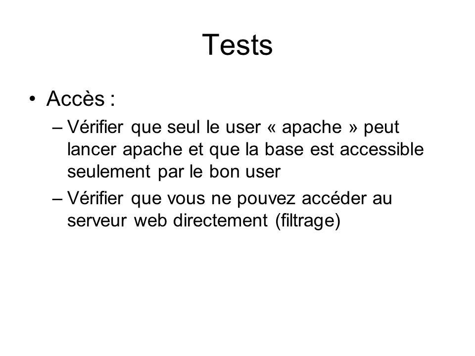 Tests •Accès : –Vérifier que seul le user « apache » peut lancer apache et que la base est accessible seulement par le bon user –Vérifier que vous ne