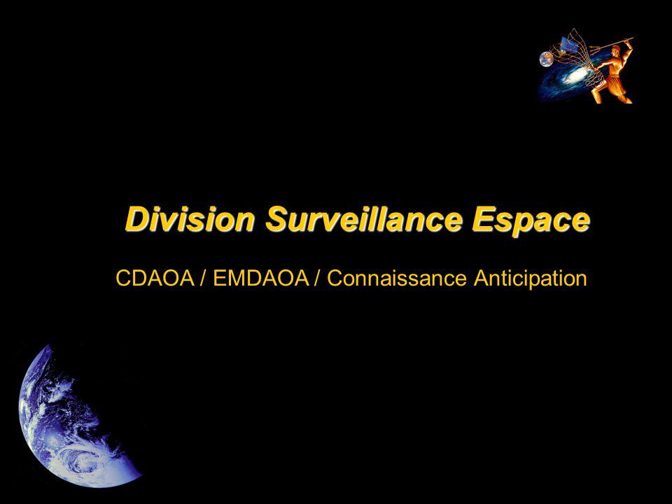 Missions de la DSE  Situation spatiale •éléments stratégiques de la situation spatiale pour les autorités; •connaissance des moyens spatiaux en présence; •optimisation de l'emploi des moyens spatiaux; •rentrées atmosphériques à risque.