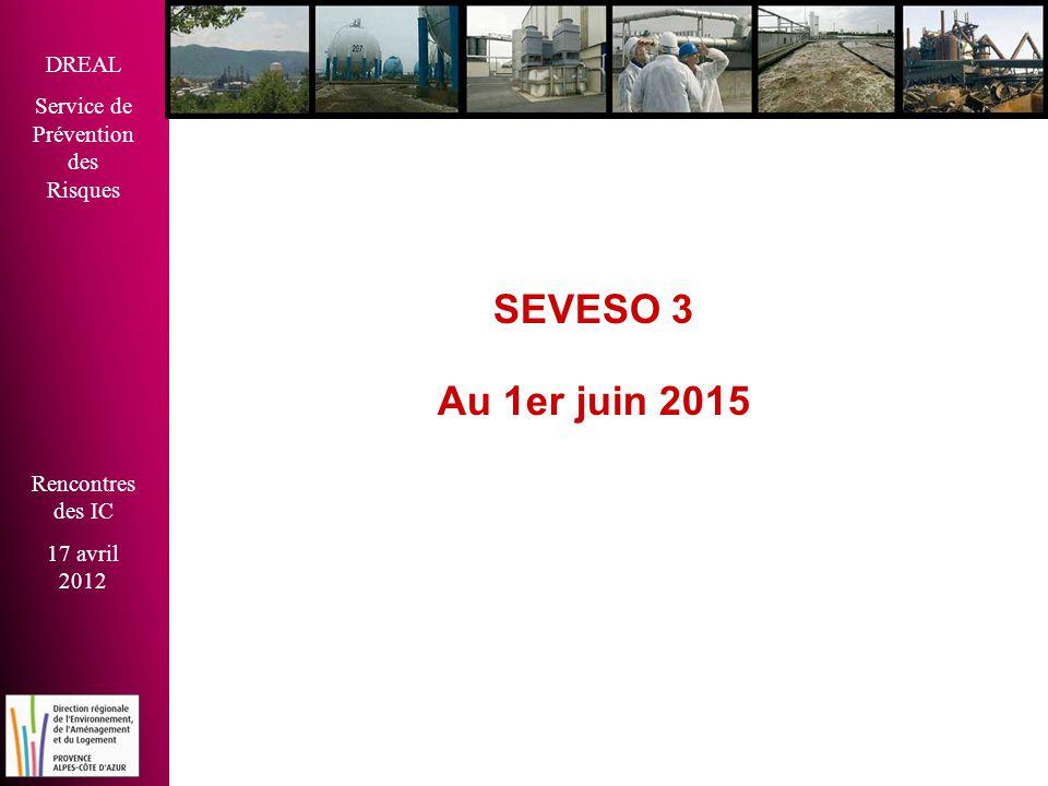 DREAL Service de Prévention des Risques Rencontres des IC 17 avril 2012 SEVESO 3 Au 1er juin 2015