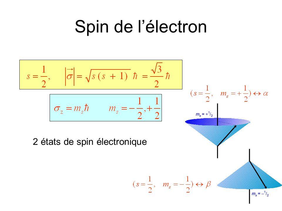 Spin de l'électron 2 états de spin électronique