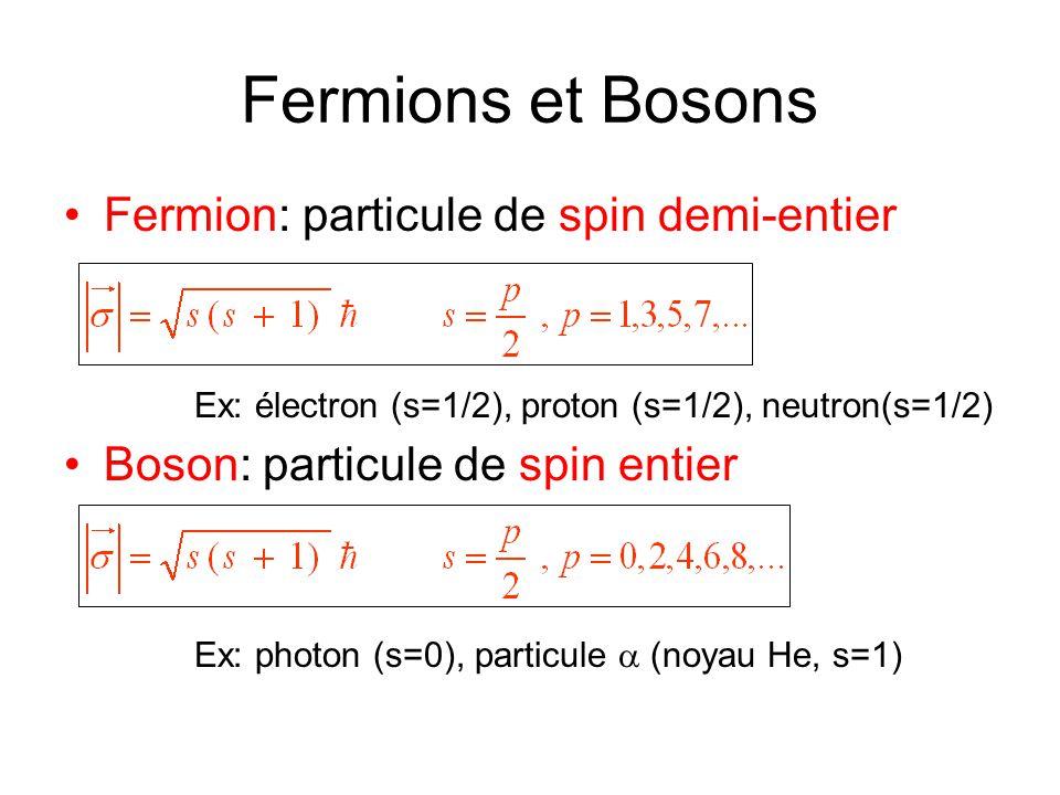 Fermions et Bosons •Fermion: particule de spin demi-entier Ex: électron (s=1/2), proton (s=1/2), neutron(s=1/2) •Boson: particule de spin entier Ex: p