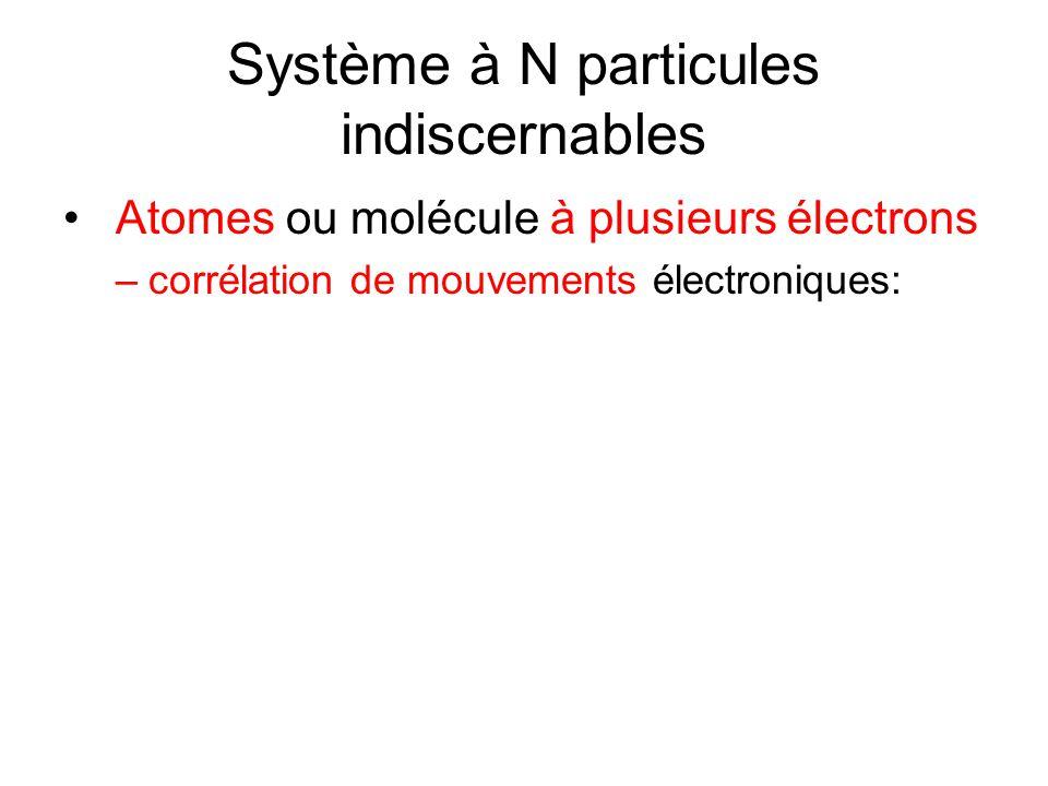 Système à N particules indiscernables • Atomes ou molécule à plusieurs électrons –corrélation de mouvements électroniques: