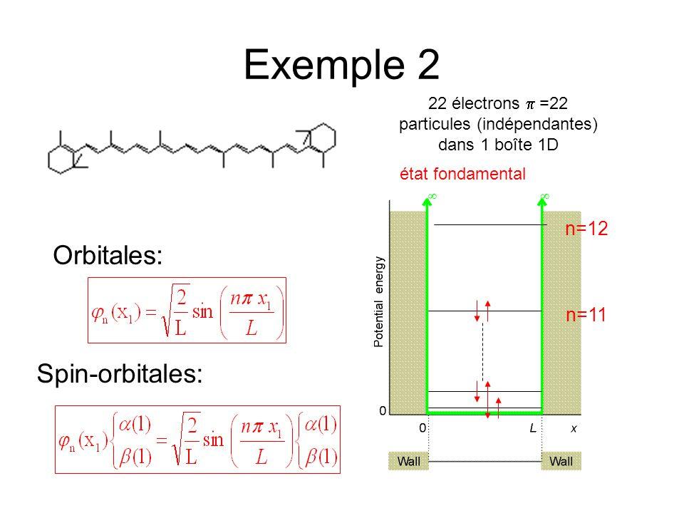 Exemple 2 22 électrons  =22 particules (indépendantes) dans 1 boîte 1D n=11 n=12 état fondamental Orbitales: Spin-orbitales: