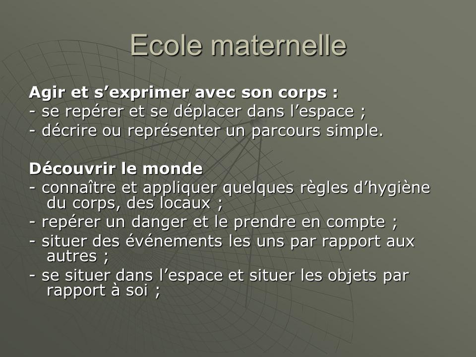 Ecole maternelle Agir et s'exprimer avec son corps : - se repérer et se déplacer dans l'espace ; - décrire ou représenter un parcours simple.