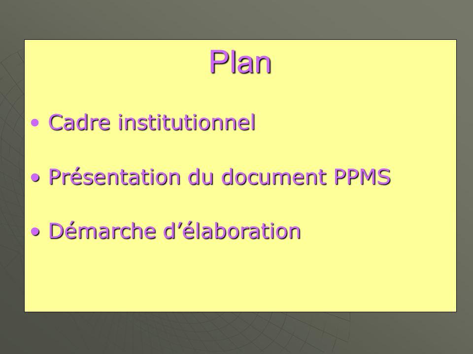Plan Cadre institutionnel • Cadre institutionnel • Présentation du document PPMS • Démarche d'élaboration