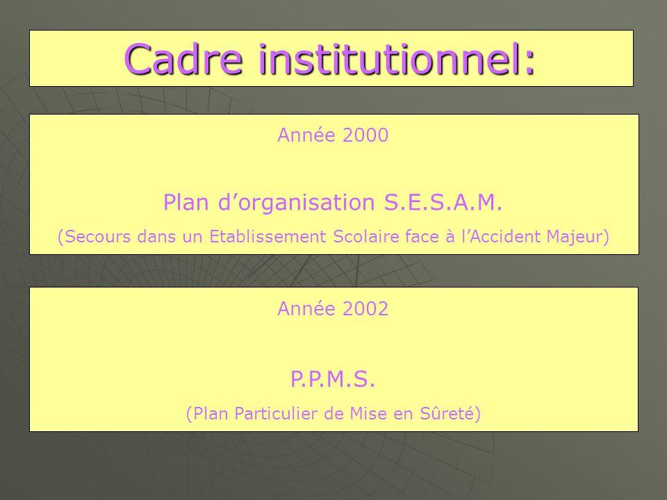 Cadre institutionnel: Année 2002 P.P.M.S.