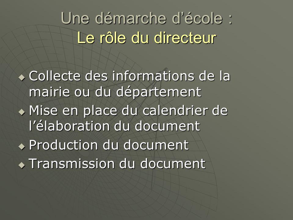 Une démarche d'école : Le rôle du directeur  Collecte des informations de la mairie ou du département  Mise en place du calendrier de l'élaboration du document  Production du document  Transmission du document