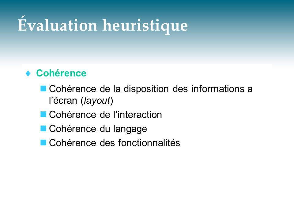 Évaluation heuristique  Cohérence  Cohérence de la disposition des informations a l'écran (layout)  Cohérence de l'interaction  Cohérence du langa
