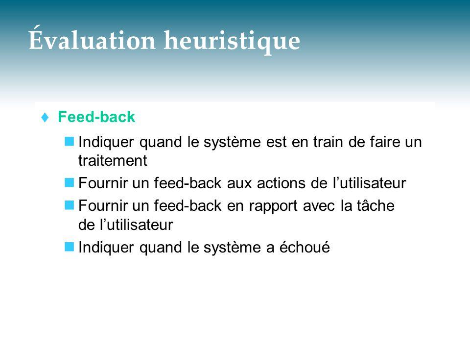 Évaluation heuristique  Feed-back  Indiquer quand le système est en train de faire un traitement  Fournir un feed-back aux actions de l'utilisateur