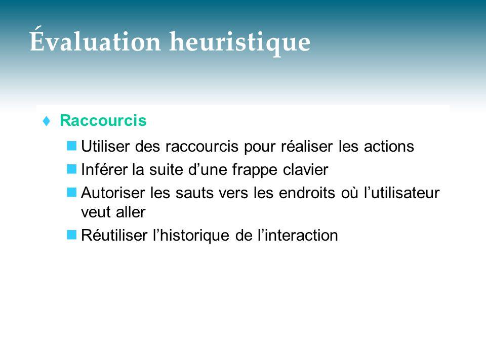 Évaluation heuristique  Raccourcis  Utiliser des raccourcis pour réaliser les actions  Inférer la suite d'une frappe clavier  Autoriser les sauts